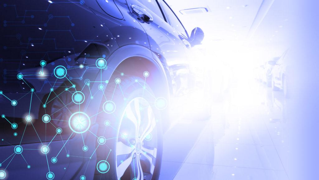 Connected Car als Zukunftsmodell - Visualisierung eines Autos, in dem vernetzte Dienste kommunizieren.